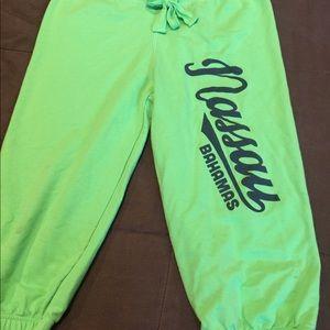 Pants - Nassau Bahamas Capri sweats lime green size large